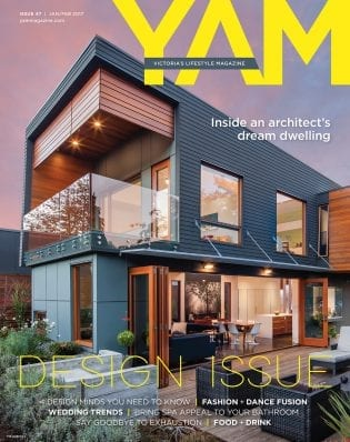 YAM Magazine Victoria's Lifestyle Magazine cover: issue 47 Jan/Feb 2017, Design Issue, Inside an architect's dream dwelling, contemporary home with clean lines, view from patio