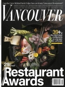 Vancouver Magazine cover, May 2018 29th Annual Restaurant Awards