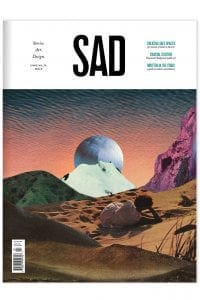 SAD Mag cover: Space Issue 24, collage of a person lying on sand looking at mountains and a celestial sphere in background