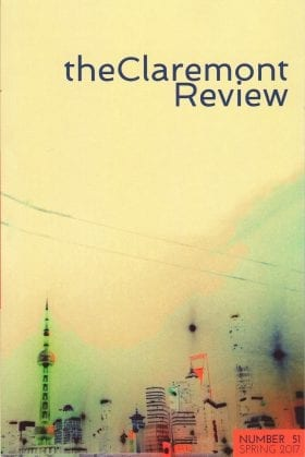 the Claremont Review cover: Number 51 Spring 2017; washed-out view of tall city buildings with a communications tower on the left, two overhead lines and soft sky colours at dusk