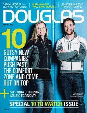 DOUGLAS Magazine cover Apr/May 2017: Special 10 to watch issue - 10 Gutsy new companies push past the comfort zone and come out on top; blonde woman and bearded man standing against sky-blue background with sports jackets and jeans, smiling