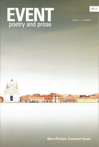 EVENT poetry and prose cover: 45.3 Non-fiction Contest Issue, distant view of a horizon line with a church-type structure and a row of low buildings.