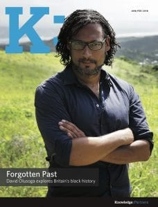 K: Magazine Cover 2018 Jan-Feb Forgotten Past, David Olusoga explores Britain's black history, standing in front of hilly landscape