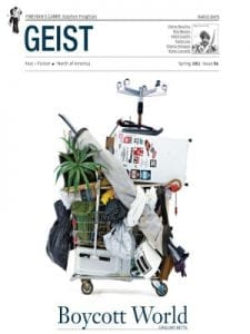 GEIST cover: 84, Spring, 2012, Boycott World, Another Vengtriloquist, Vavilovian Mimicry, Charms against Lightning, image of shopping card stacked high with consumer goods