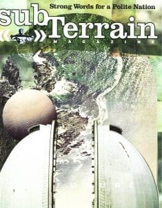 subTerrain Magazine cover: Strong Words for a Polite Nation, issue 76; drawing of observatory with planet on the left, open to the sky