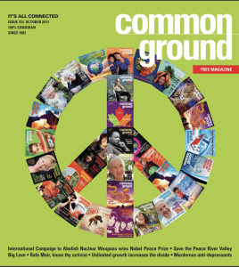Common Ground Magazine Cover October 2017, large peace sign made up of archived covers on green background