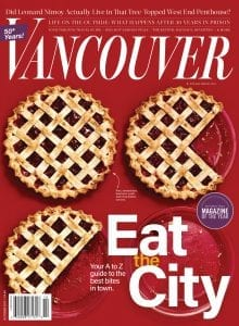 Vancouver Magazine cover Nov. 2017, Eat the City, Your A-Z guide to the best bites in town, plates of pies on red ground