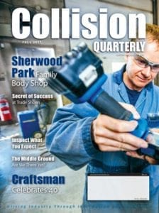 Collision Quarterly Cover Fall 2017, worker in blue coveralls