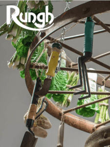 Rungh Magazine cover, garden tools & greenery hanging from wheel