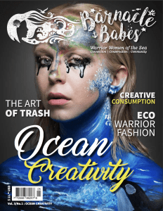 Barnacle Babes cover - blonde woman with blue wave body paint