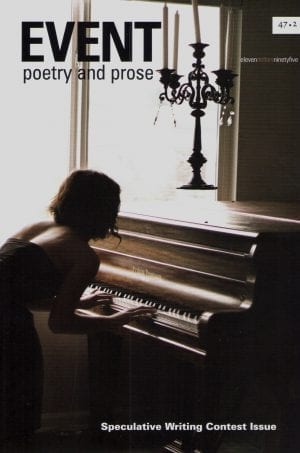 Event magazine 47.2 cover - young woman playing piano with chandelier in background