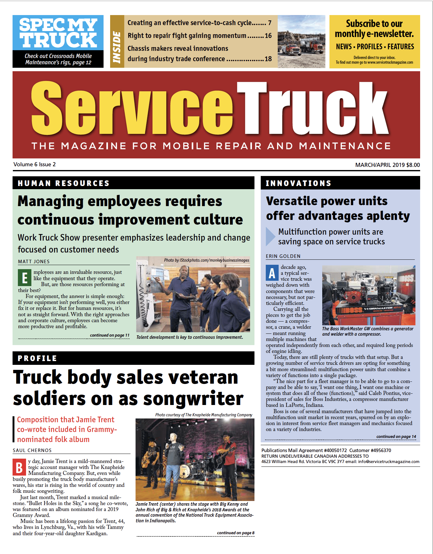 Service Truck cover – Mar-Apr 2019