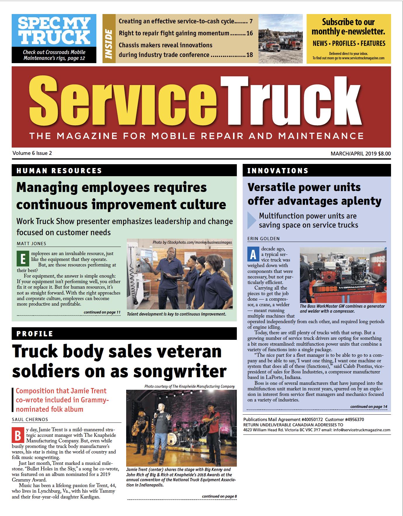 Service Truck cover – Mar-Apr 2019