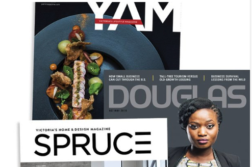 YAM, Douglas and SPRUCE magazine covers