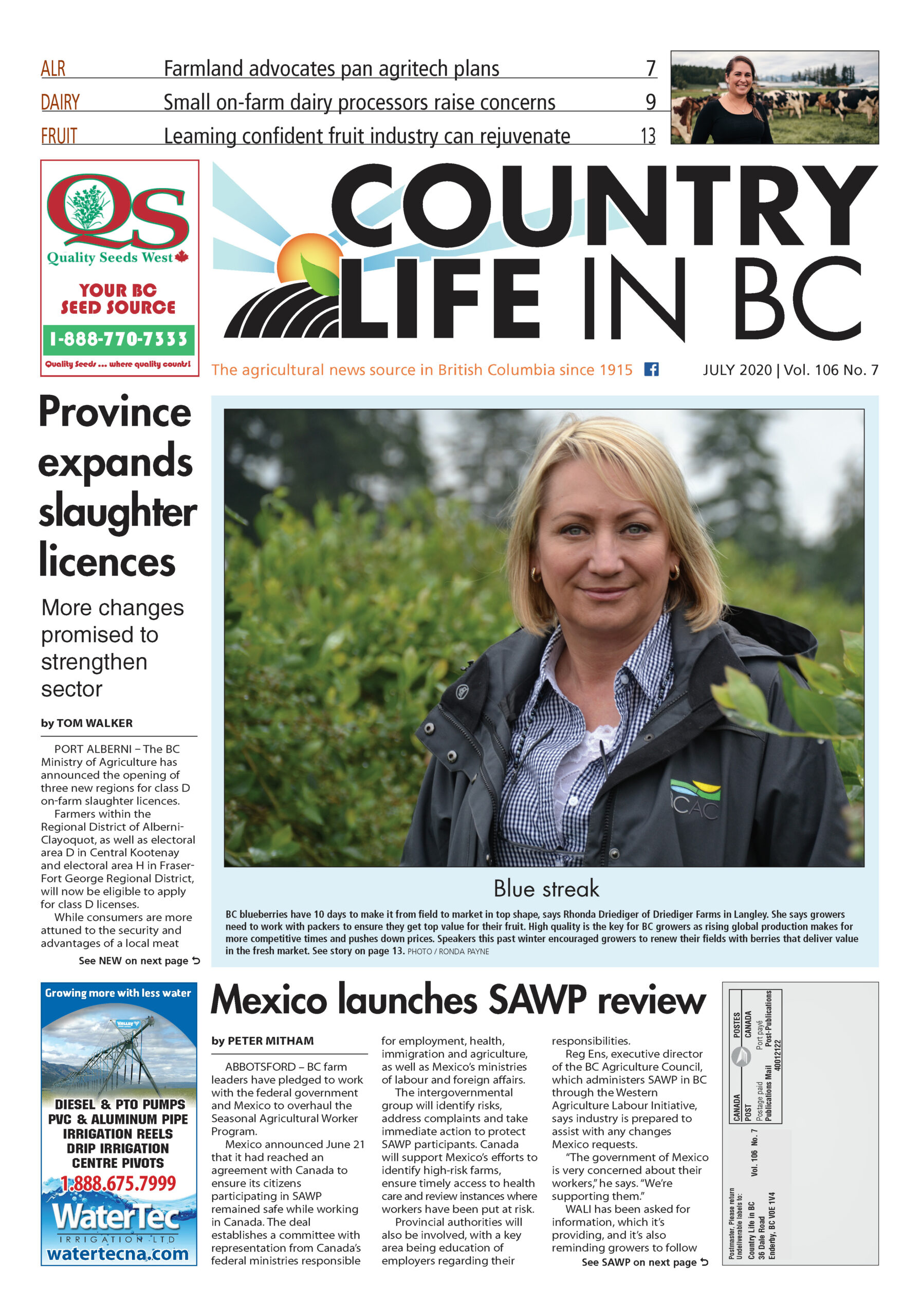Country Life in BC - July 2020 cover p 1