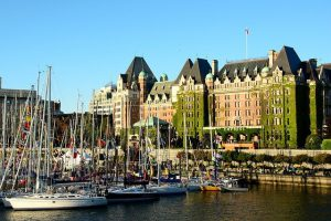 Victoria BC - Inner Harbour with boats and Empress Hotel